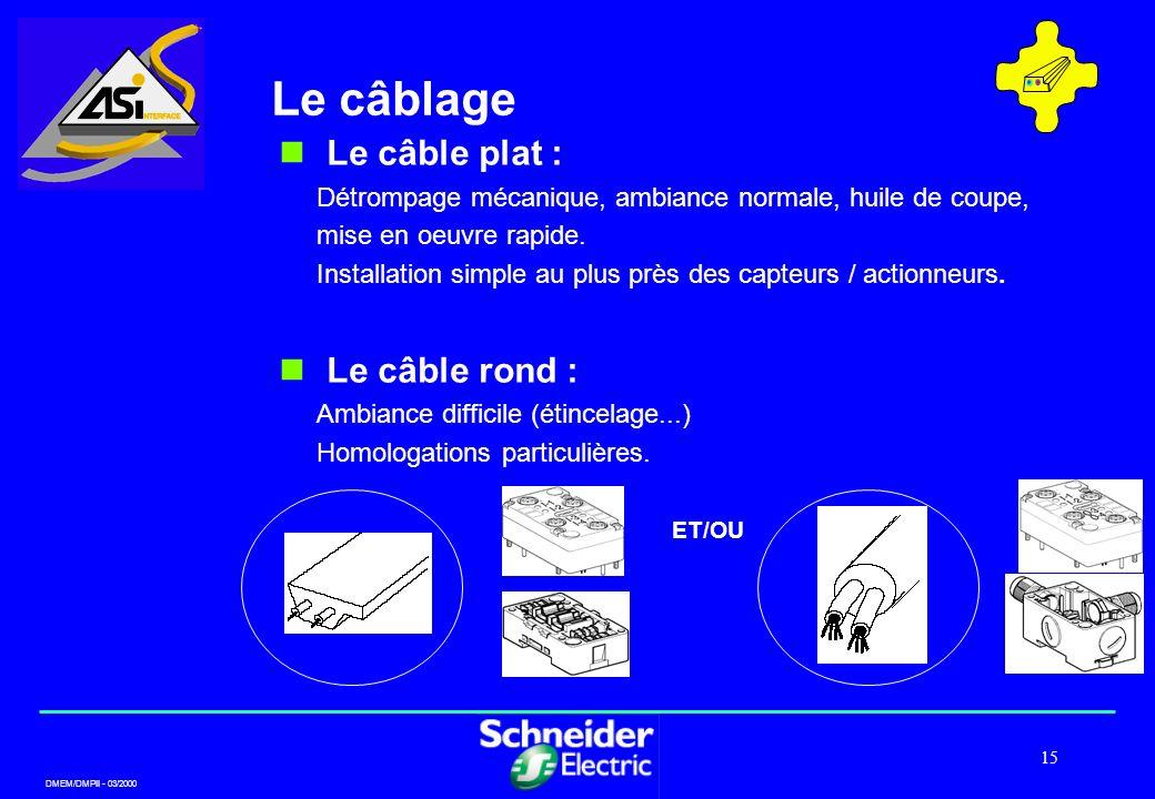 DMEM/DMPII - 03/2000 15 Le câblage ET/OU Le câble plat : Détrompage mécanique, ambiance normale, huile de coupe, mise en oeuvre rapide. Installation s