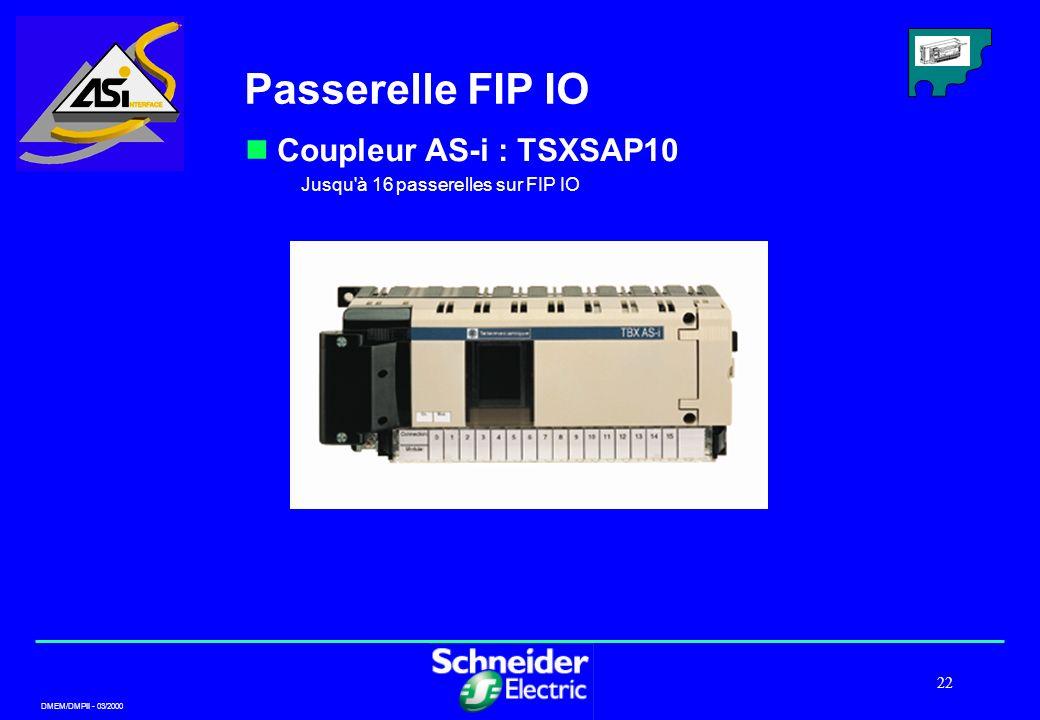 DMEM/DMPII - 03/2000 22 Passerelle FIP IO Coupleur AS-i : TSXSAP10 Jusqu'à 16 passerelles sur FIP IO