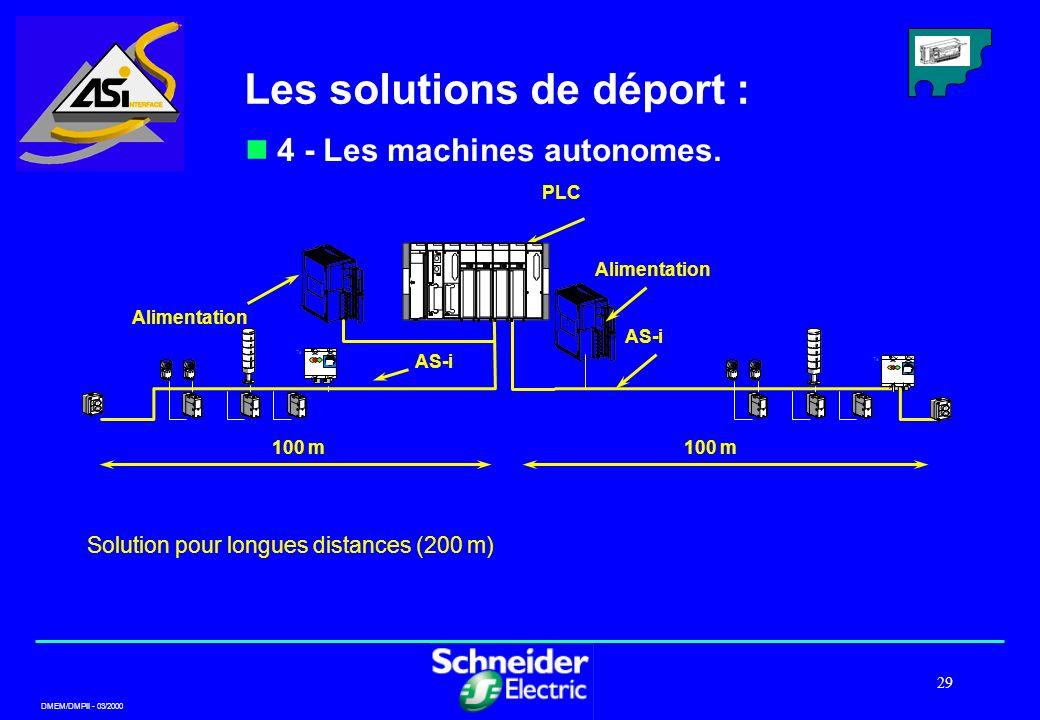 DMEM/DMPII - 03/2000 29 Solution pour longues distances (200 m) Te T T 100 m Alimentation AS-i PLC Alimentation Les solutions de déport : 4 - Les mach