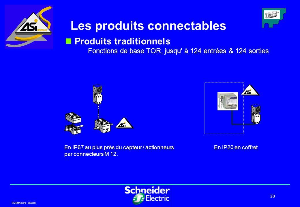DMEM/DMPII - 03/2000 30 Les produits connectables Produits traditionnels Fonctions de base TOR, jusqu' à 124 entrées & 124 sorties En IP67 au plus prè