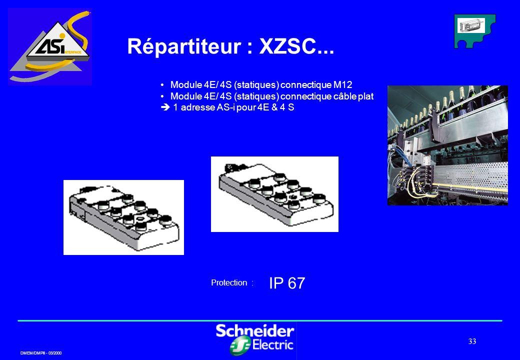 DMEM/DMPII - 03/2000 33 Répartiteur : XZSC... Module 4E/ 4S (statiques) connectique M12 Module 4E/ 4S (statiques) connectique câble plat 1 adresse AS-