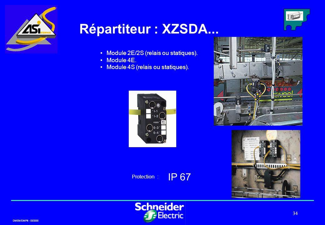 DMEM/DMPII - 03/2000 34 Répartiteur : XZSDA... IP 67 Protection : Module 2E/2S (relais ou statiques). Module 4E. Module 4S (relais ou statiques).
