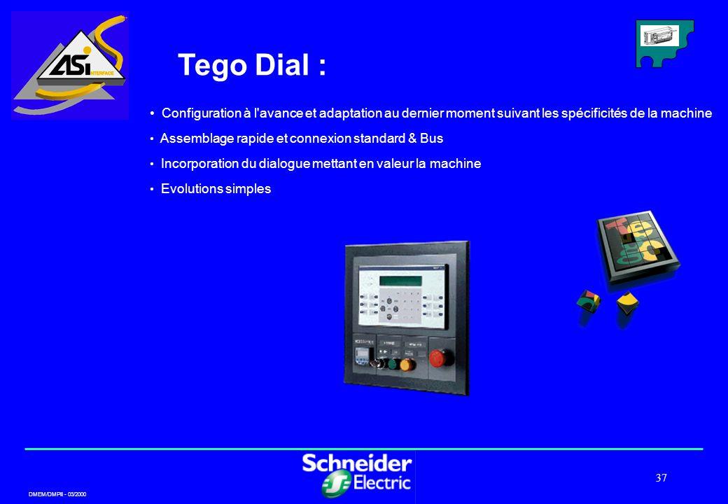 DMEM/DMPII - 03/2000 37 Tego Dial : Configuration à l'avance et adaptation au dernier moment suivant les spécificités de la machine Assemblage rapide