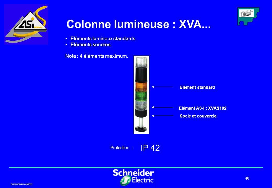 DMEM/DMPII - 03/2000 40 Colonne lumineuse : XVA... IP 42 Protection : Eléments lumineux standards Eléments sonores. Nota : 4 éléments maximum. Socle e