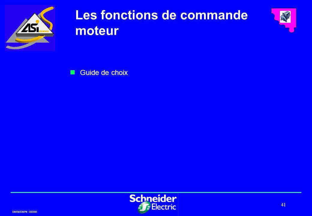 DMEM/DMPII - 03/2000 41 Guide de choix Les fonctions de commande moteur