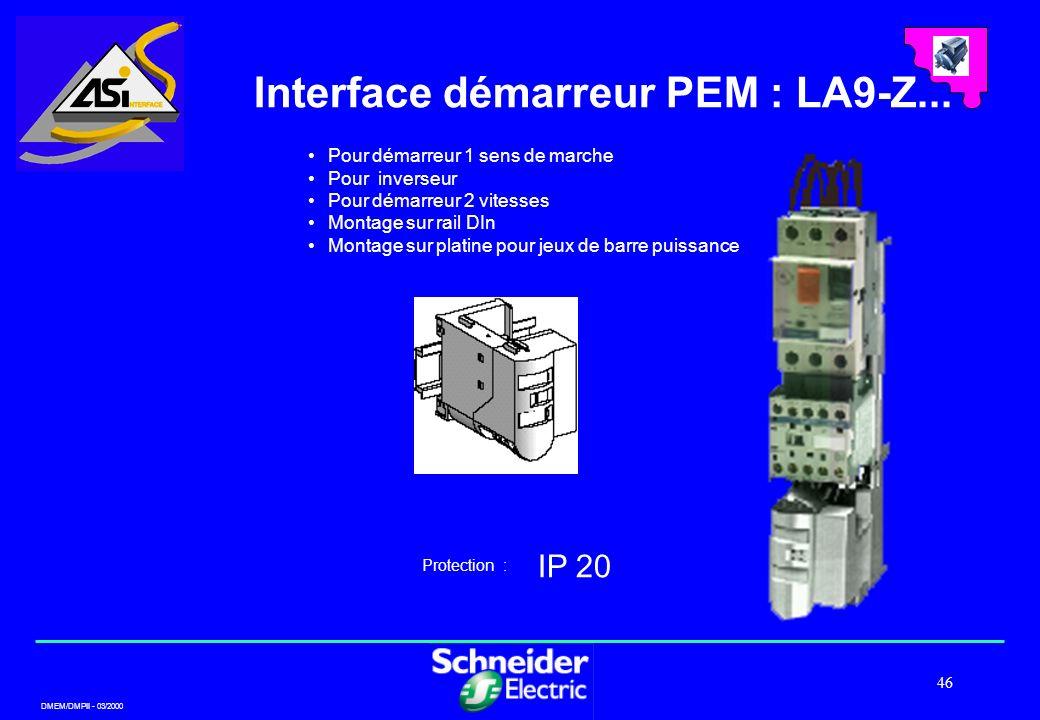 DMEM/DMPII - 03/2000 46 Interface démarreur PEM : LA9-Z... IP 20 Protection : Pour démarreur 1 sens de marche Pour inverseur Pour démarreur 2 vitesses