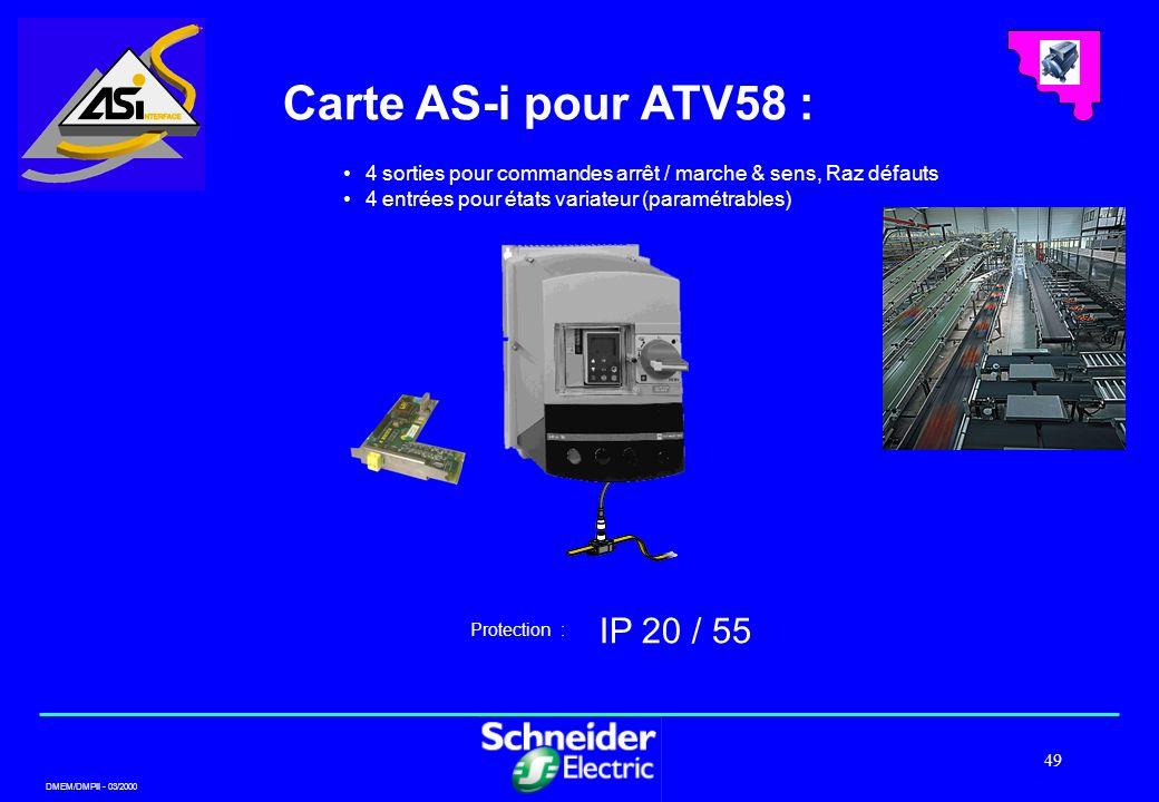 DMEM/DMPII - 03/2000 49 Carte AS-i pour ATV58 : IP 20 / 55 Protection : 4 sorties pour commandes arrêt / marche & sens, Raz défauts 4 entrées pour éta