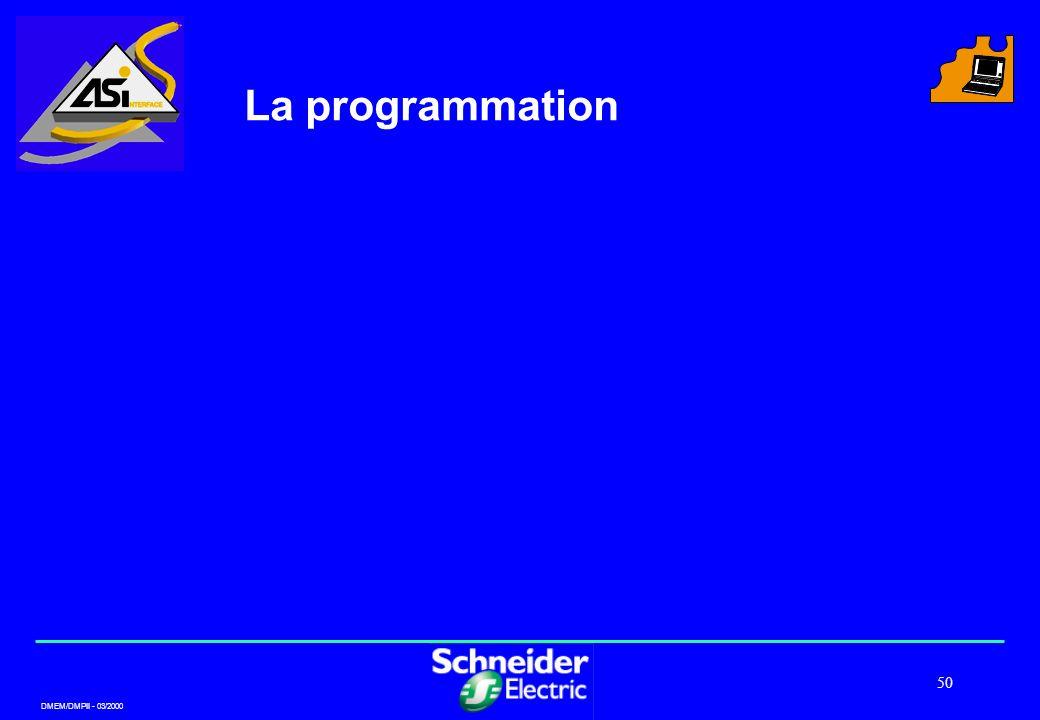 DMEM/DMPII - 03/2000 50 La programmation
