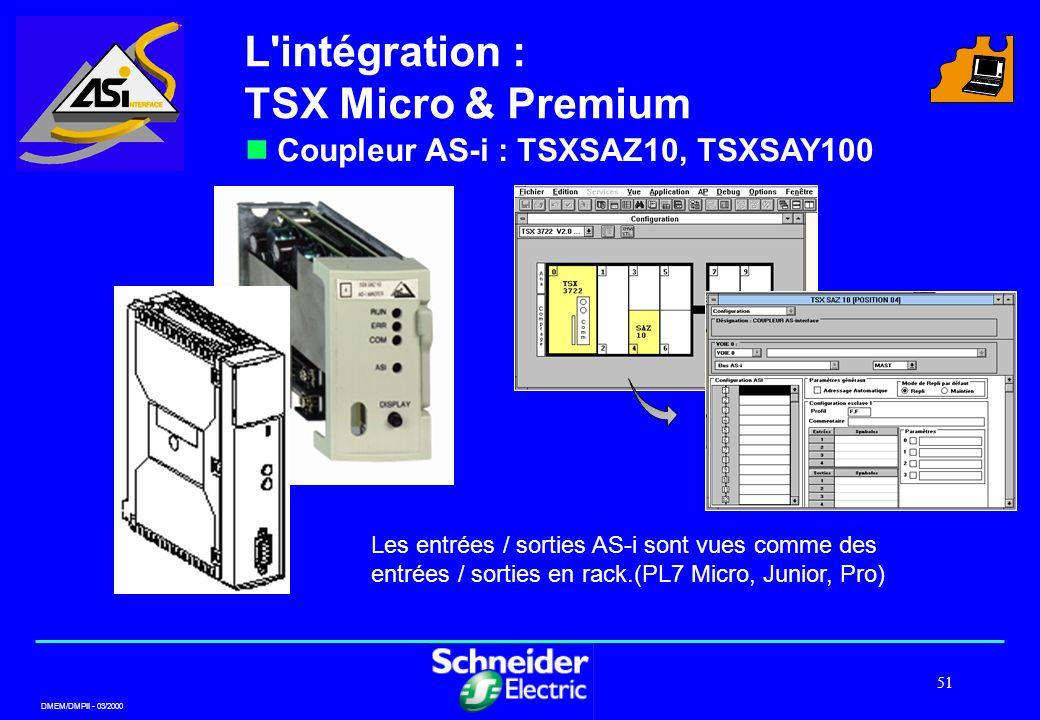DMEM/DMPII - 03/2000 51 L'intégration : TSX Micro & Premium Coupleur AS-i : TSXSAZ10, TSXSAY100 Les entrées / sorties AS-i sont vues comme des entrées