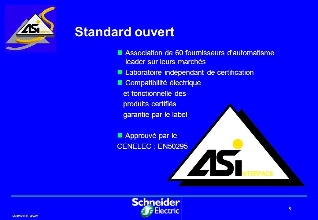 DMEM/DMPII - 03/2000 9 Standard ouvert Association de 60 fournisseurs d'automatisme leader sur leurs marchés Laboratoire indépendant de certification