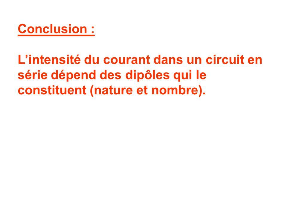 Expérience 2 : On réalise le même circuit en remplaçant la lampe L 2 par une résistance. Observations : On mesure I = …… A. Cette valeur est inférieur