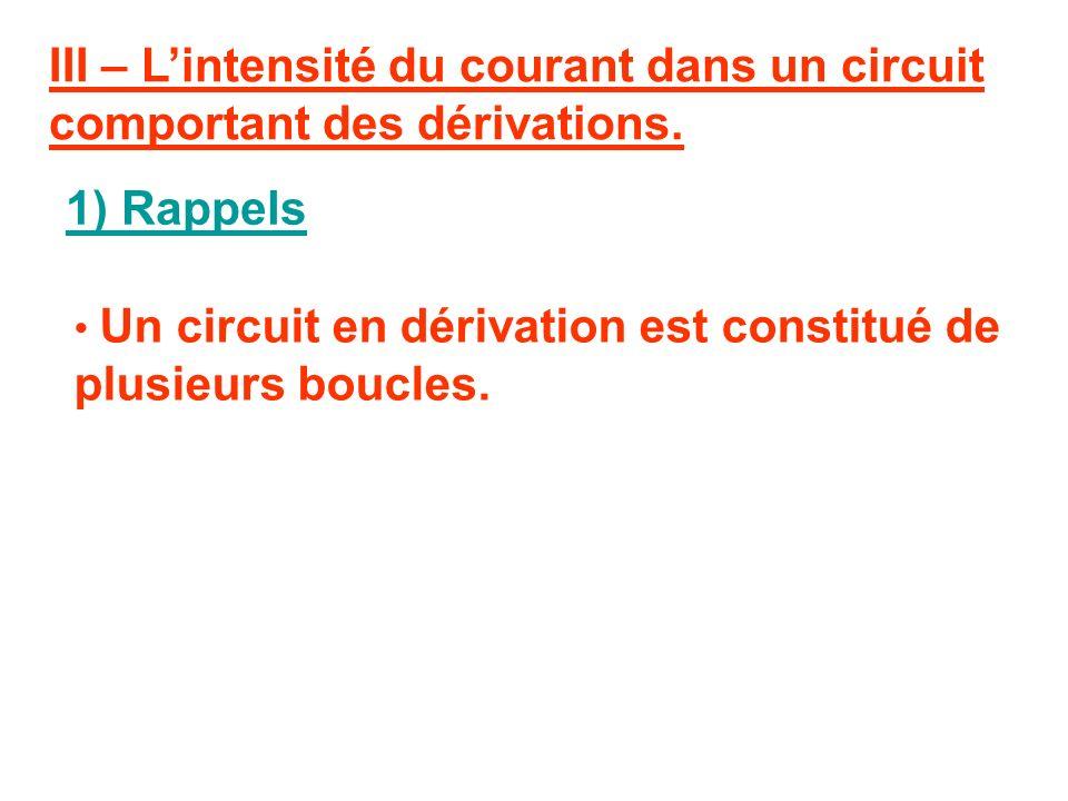 Conclusion : Lintensité du courant dans un circuit en série dépend des dipôles qui le constituent (nature et nombre).