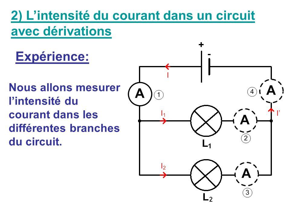 Ce montage comporte 3 branches : - la branche principale (celle qui contient le générateur), - et deux branches dérivées Branche principale Branches d