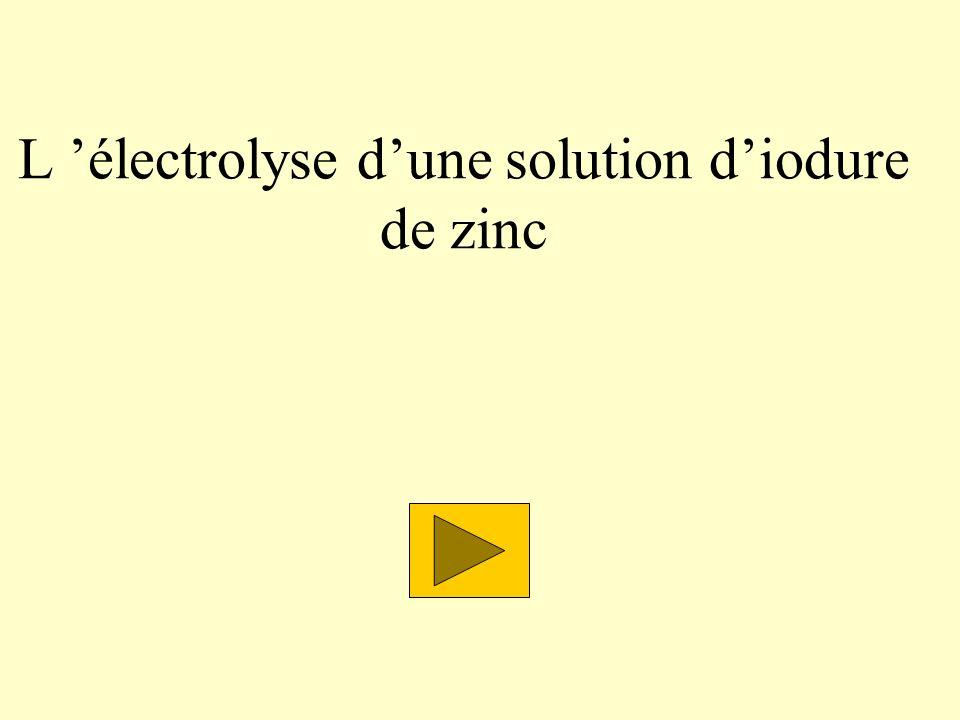 L électrolyse dune solution diodure de zinc