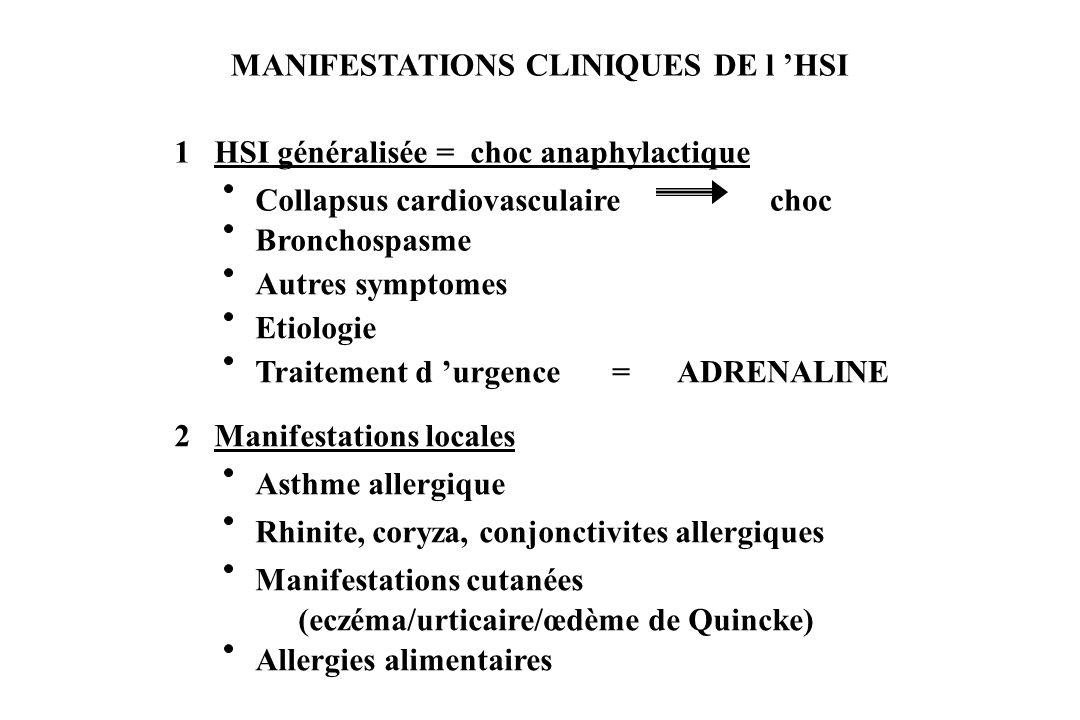 MANIFESTATIONS CLINIQUES DE l HSI 1 HSI généralisée = choc anaphylactique Bronchospasme Autres symptomes Etiologie Traitement d urgence=ADRENALINE 2 M