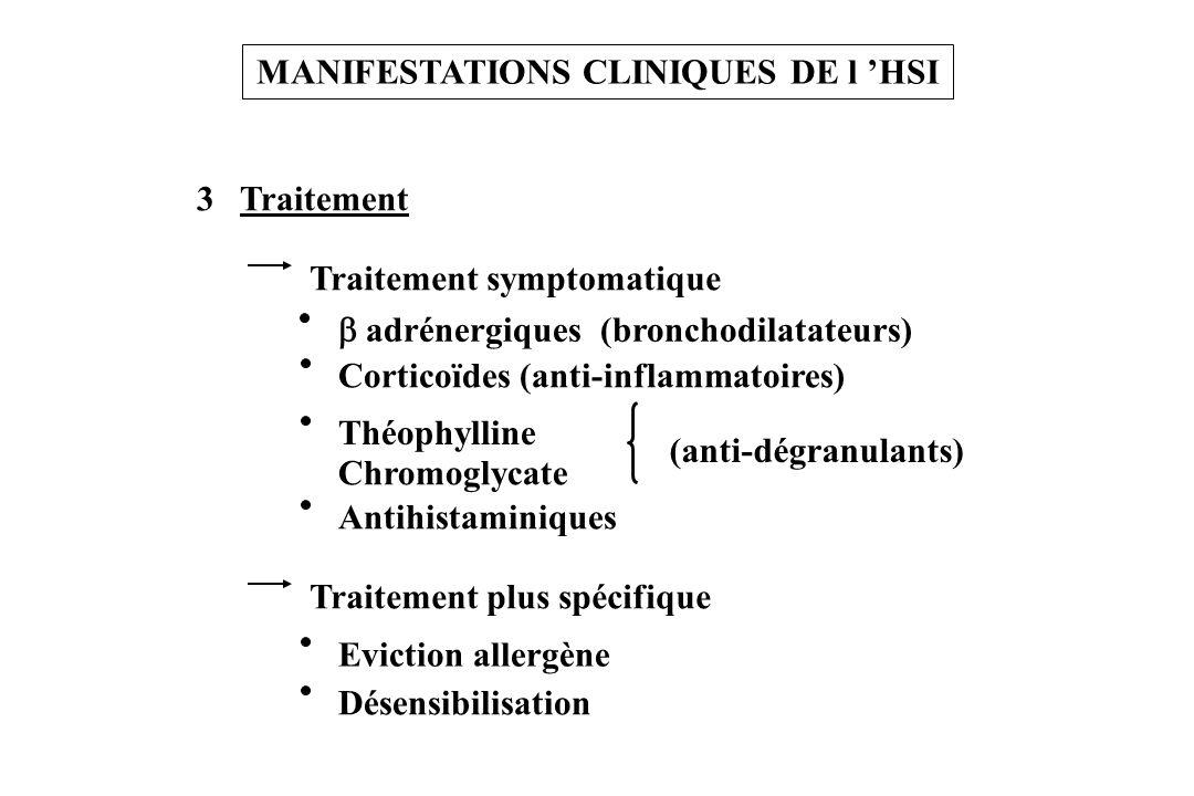 3 Traitement MANIFESTATIONS CLINIQUES DE l HSI Traitement symptomatique adrénergiques (bronchodilatateurs) Corticoïdes (anti-inflammatoires) Chromogly