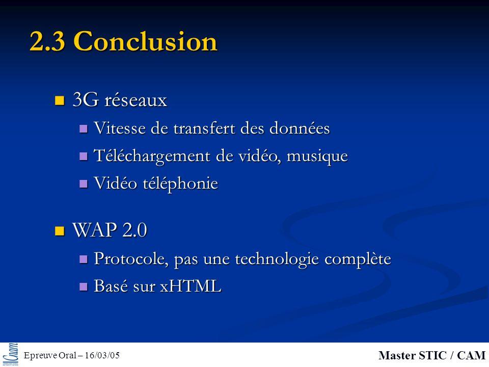Epreuve Oral – 16/03/05 Master STIC / CAM 2.3 Conclusion 3G réseaux 3G réseaux Vitesse de transfert des données Vitesse de transfert des données Téléchargement de vidéo, musique Téléchargement de vidéo, musique Vidéo téléphonie Vidéo téléphonie WAP 2.0 WAP 2.0 Protocole, pas une technologie complète Protocole, pas une technologie complète Basé sur xHTML Basé sur xHTML