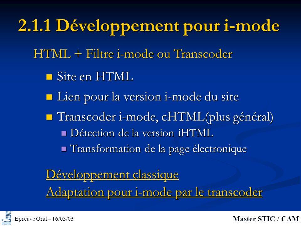 Epreuve Oral – 16/03/05 Master STIC / CAM 2.1.1 Développement pour i-mode Site en HTML Site en HTML HTML + Filtre i-mode ou Transcoder Lien pour la version i-mode du site Lien pour la version i-mode du site Transcoder i-mode, cHTML(plus général) Transcoder i-mode, cHTML(plus général) Détection de la version iHTML Détection de la version iHTML Transformation de la page électronique Transformation de la page électronique Développement classique Adaptation pour i-mode par le transcoder