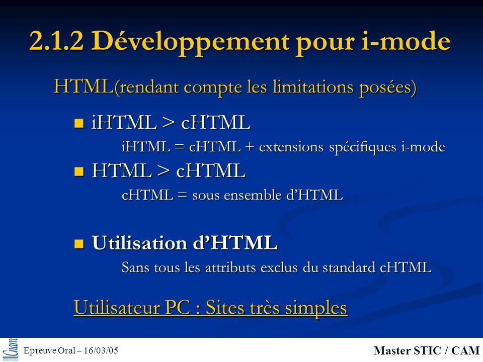 Epreuve Oral – 16/03/05 Master STIC / CAM 2.1.2 Développement pour i-mode iHTML > cHTML iHTML > cHTML iHTML = cHTML + extensions spécifiques i-mode HTML (rendant compte les limitations posées) HTML > cHTML HTML > cHTML cHTML = sous ensemble dHTML Utilisation dHTML Utilisation dHTML Sans tous les attributs exclus du standard cHTML Utilisateur PC : Sites très simples