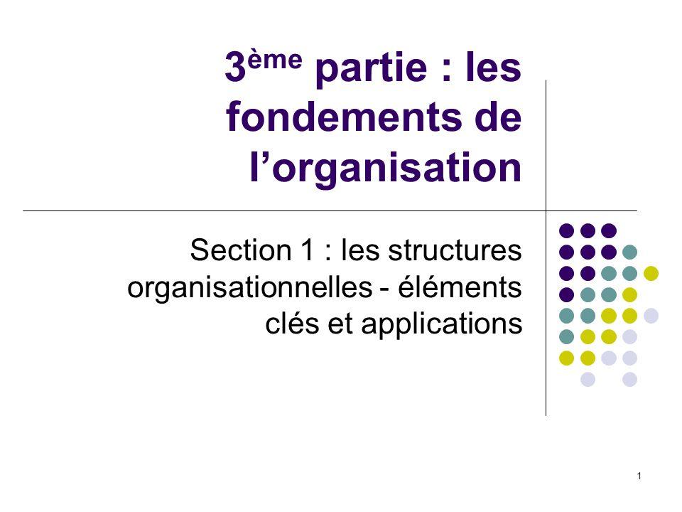 1 3 ème partie : les fondements de lorganisation Section 1 : les structures organisationnelles - éléments clés et applications
