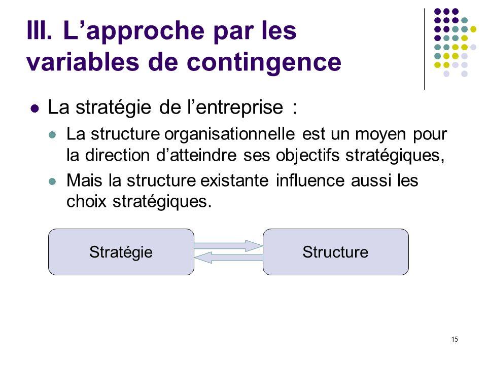 15 III. Lapproche par les variables de contingence La stratégie de lentreprise : La structure organisationnelle est un moyen pour la direction dattein