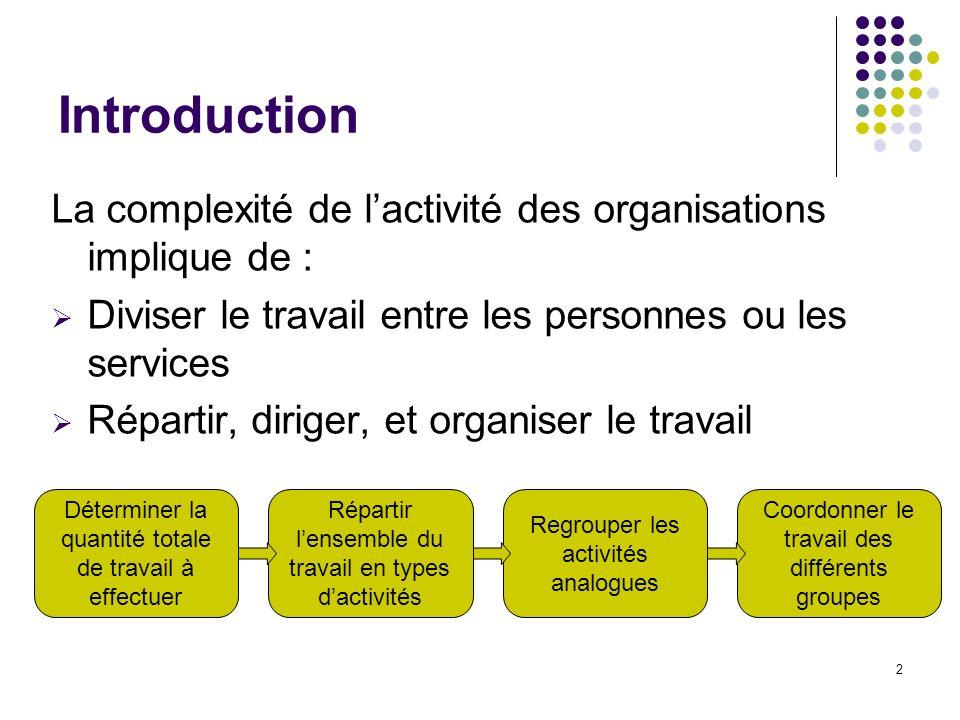 2 Introduction La complexité de lactivité des organisations implique de : Diviser le travail entre les personnes ou les services Répartir, diriger, et