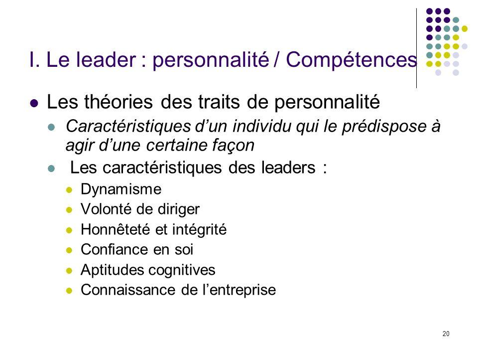 20 I. Le leader : personnalité / Compétences Les théories des traits de personnalité Caractéristiques dun individu qui le prédispose à agir dune certa