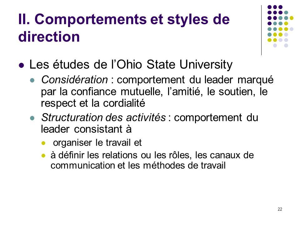 22 II. Comportements et styles de direction Les études de lOhio State University Considération : comportement du leader marqué par la confiance mutuel