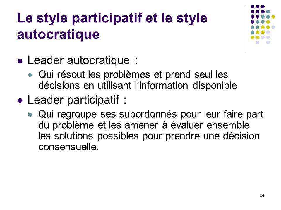 24 Le style participatif et le style autocratique Leader autocratique : Qui résout les problèmes et prend seul les décisions en utilisant linformation