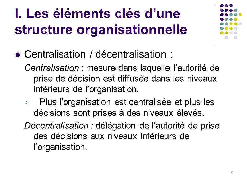 7 I. Les éléments clés dune structure organisationnelle Centralisation / décentralisation : Centralisation : mesure dans laquelle lautorité de prise d