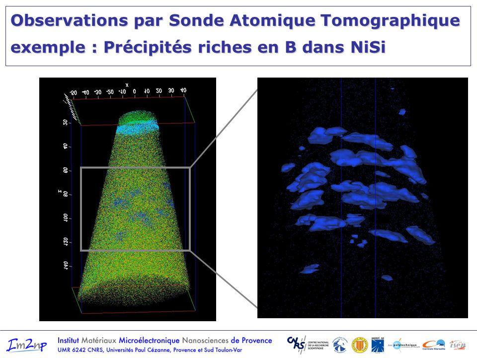 Observations par Sonde Atomique Tomographique exemple : Précipités riches en B dans NiSi