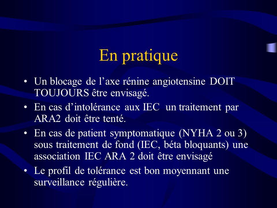 En pratique Un blocage de laxe rénine angiotensine DOIT TOUJOURS être envisagé. En cas dintolérance aux IEC un traitement par ARA2 doit être tenté. En