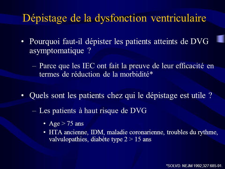 Dépistage de la dysfonction ventriculaire Pourquoi faut-il dépister les patients atteints de DVG asymptomatique ? –Parce que les IEC ont fait la preuv