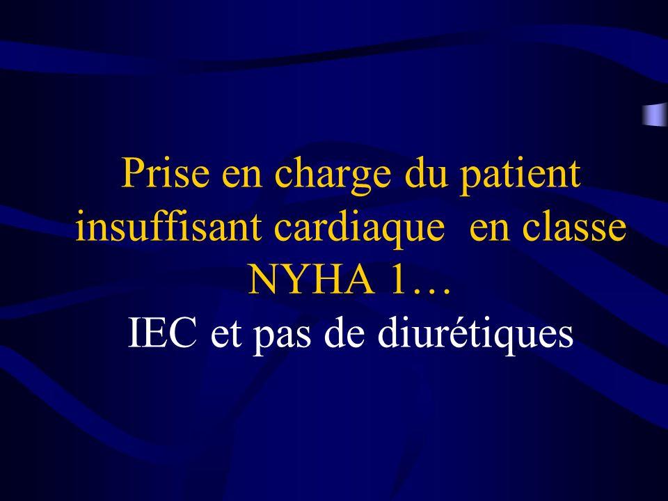 Prise en charge du patient insuffisant cardiaque en classe NYHA 1… IEC et pas de diurétiques