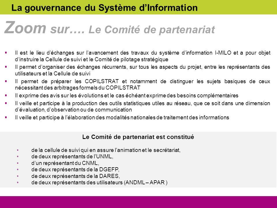 Il est le lieu déchanges sur lavancement des travaux du système dinformation I-MILO et a pour objet dinstruire la Cellule de suivi et le Comité de pil