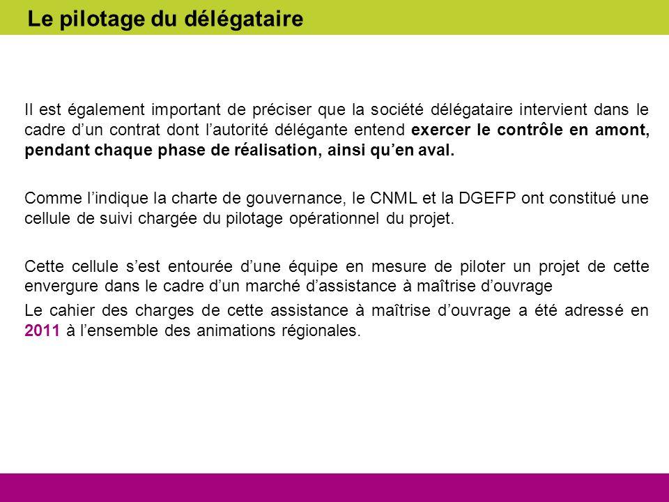 Le pilotage du délégataire Il est également important de préciser que la société délégataire intervient dans le cadre dun contrat dont lautorité délég