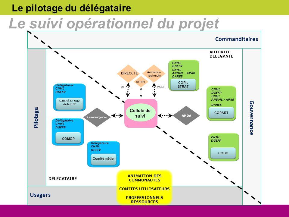 Le pilotage du délégataire Le suivi opérationnel du projet Comité de suivi de la DSP Délégataire CNML DGEFP COMOP Délégataire CNML DGEFP Comité métier