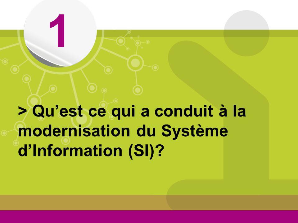 © 1 > Quest ce qui a conduit à la modernisation du Système dInformation (SI)?