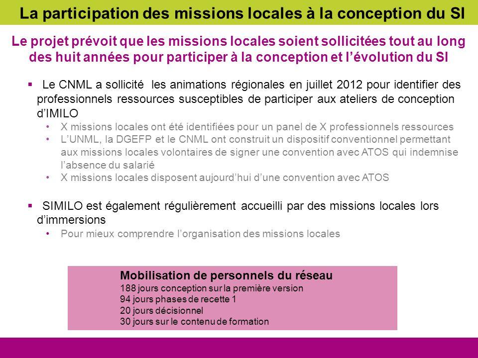 La participation des missions locales à la conception du SI Le projet prévoit que les missions locales soient sollicitées tout au long des huit années