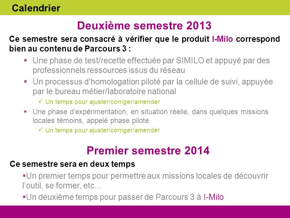 Calendrier Deuxième semestre 2013 Ce semestre sera consacré à vérifier que le produit I-Milo correspond bien au contenu de Parcours 3 : Une phase de t
