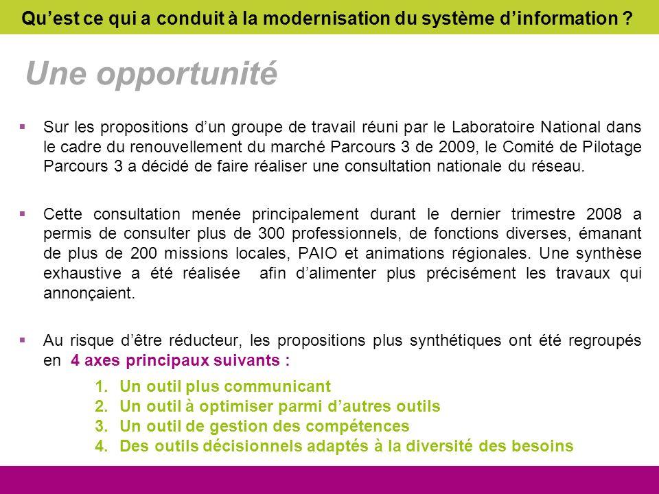 Une opportunité Sur les propositions dun groupe de travail réuni par le Laboratoire National dans le cadre du renouvellement du marché Parcours 3 de 2