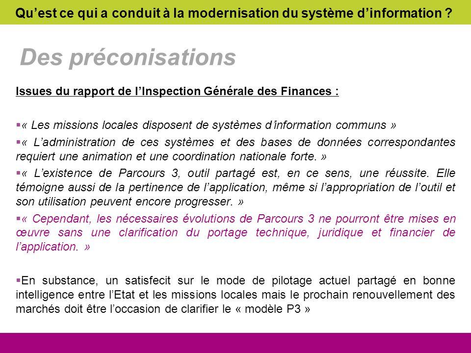 Des préconisations Issues du rapport de lInspection Générale des Finances : « Les missions locales disposent de systèmes dinformation communs » « Ladm