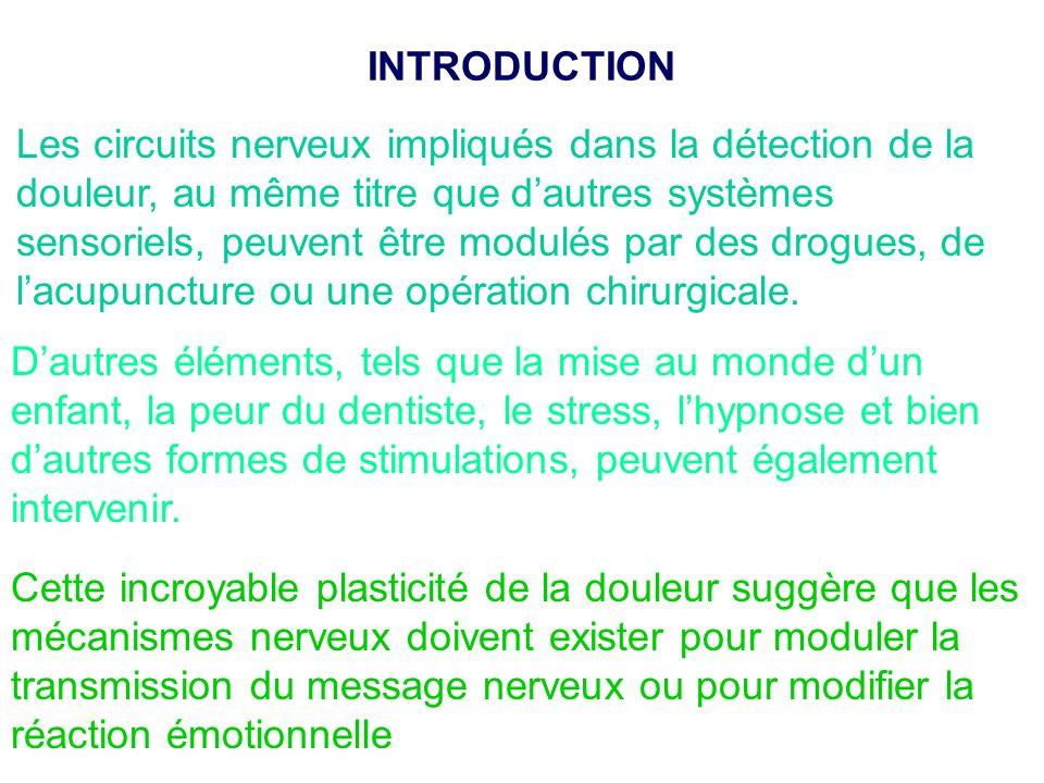 Les circuits nerveux impliqués dans la détection de la douleur, au même titre que dautres systèmes sensoriels, peuvent être modulés par des drogues, d