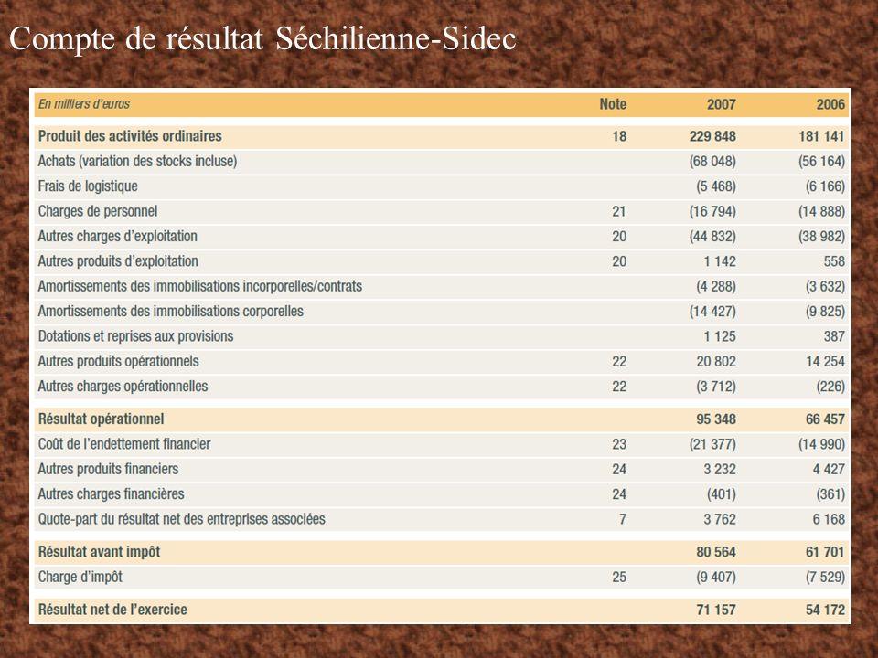 Compte de résultat Séchilienne-Sidec