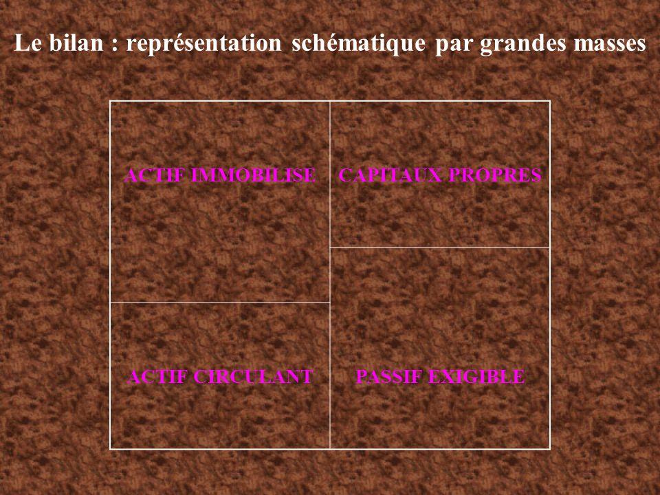 Le bilan : représentation schématique par grandes masses ACTIF IMMOBILISECAPITAUX PROPRES ACTIF CIRCULANTPASSIF EXIGIBLE