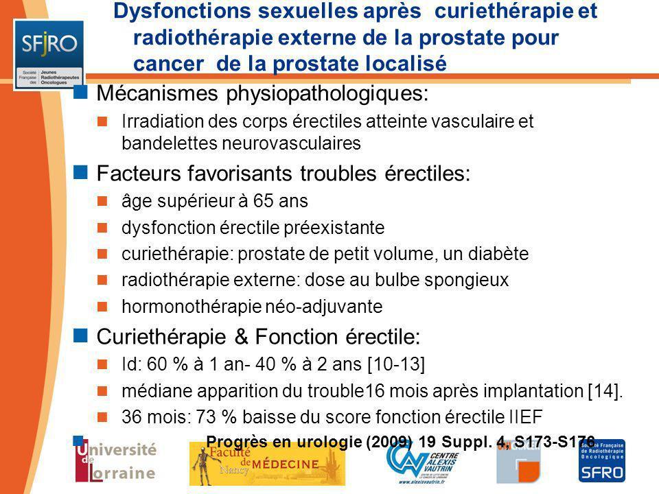 Dysfonctions sexuelles après curiethérapie et radiothérapie externe de la prostate pour cancer de la prostate localisé Mécanismes physiopathologiques: