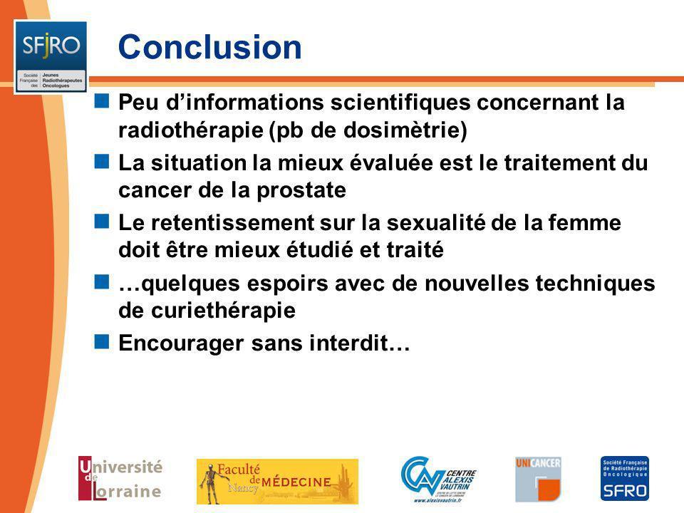 Conclusion Peu dinformations scientifiques concernant la radiothérapie (pb de dosimètrie) La situation la mieux évaluée est le traitement du cancer de