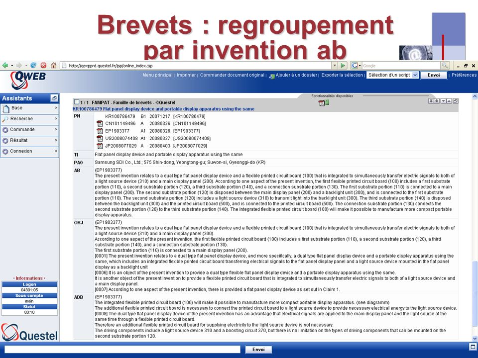 I-expo 2008 – Asie & multilinguisme15 Brevets : regroupement par invention ab