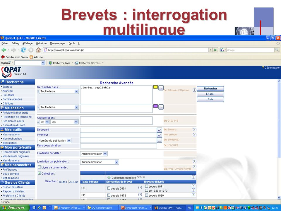 I-expo 2008 – Asie & multilinguisme18 Brevets : interrogation multilingue