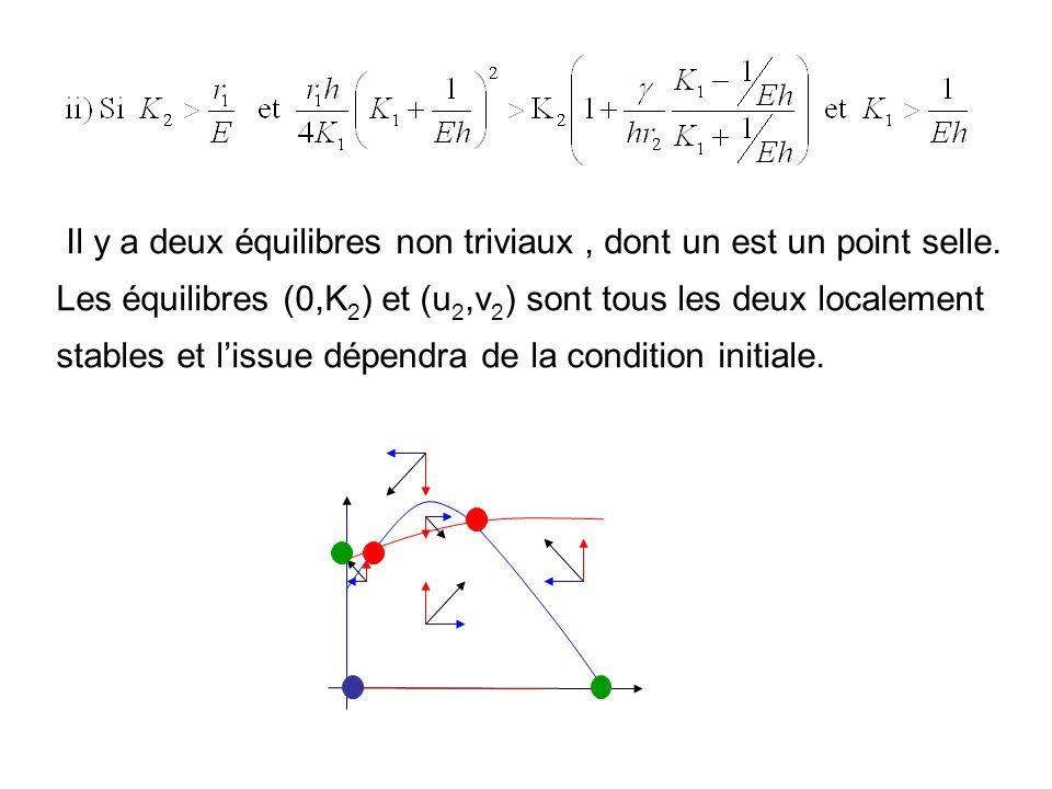 il ny a pas déquilibre non-trivial et léquilibre semi-trivial (0,K 2 ) est stable